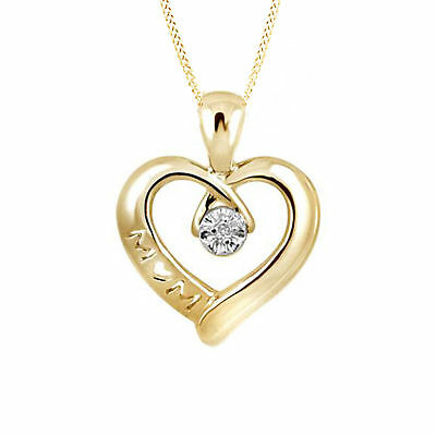 Round Real Diamond Accent Mom Heart Pendant 14k Gold Over .925 Sterling Silver