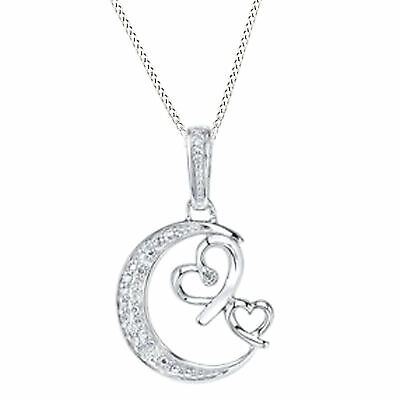 Natural Diamond Moon Heart Pendant Necklace 14k Gold Over 925 Sterling Silver