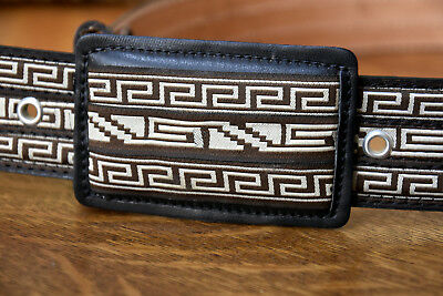 New Brown Western style leather belt with Fine cloth Geometric Patterns