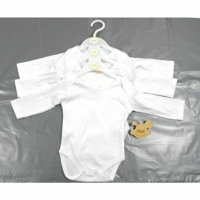 Rock a Bye Baby Boy Girl White 3 Pack Long Sleeve Cotton Vests Age Newborn 0 3 6