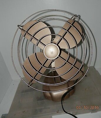 Old VTG electric Fan_  gold paint_  deco/aviation .oscillating..repurpose