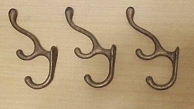 3 Set Triple Coat Hook old school house heavy brass vintage clothes hanger tree