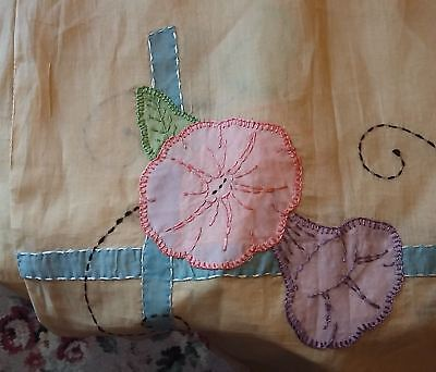 Vintage Antique Bed Cover, Floral Design Pink & Blue