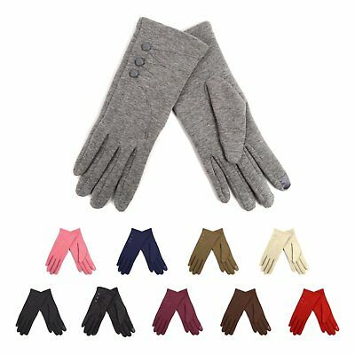 Ladies' Smartphone Accessible Winter Gloves with Button Accents (LWG06)