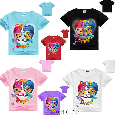 Shimmer and Shine Kids T shirts Tops Outfits Costume Girls tshirts Clothes AU