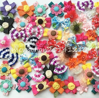 Handmade Flower Pet Dog Assorted Hair rope Bow rubber band Accessories Grooming