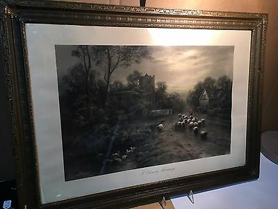 """Stunning   Antique """"A Cloudy Morning"""" Limited Edition English Painting 1900's"""