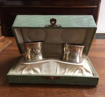 Antique German Silver 800 pair of napkin rings in a box Floral design monogram