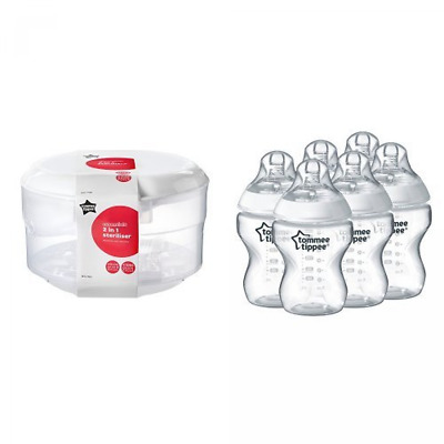 Tommee Tippee Essentials Microwave Steriliser + Closer to Nature Feeding Bottle