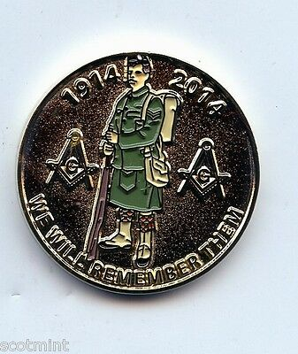1914-2014 100th Anniversary WW1  MASONIC  PENNY ENAMELED TOKEN