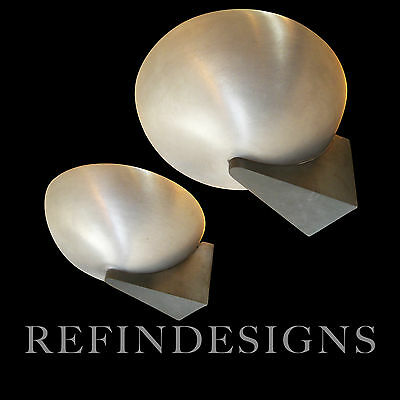 KURT VERSEN STREAMLINE MODERN ART DECO ALUMINUM LRG WALL SCONCE LAMP PAIR 1930's