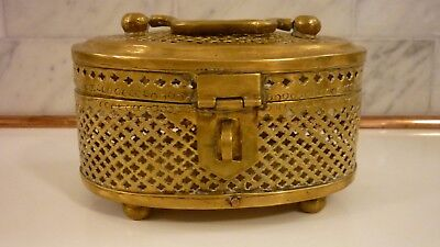 Vintage Large Pierced Brass Footed Cricket Cage Or Potpourri Holder