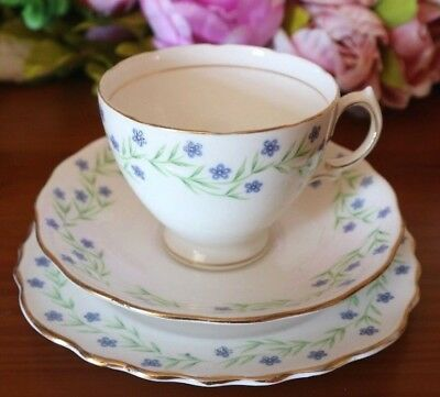 ROYAL VALE CHINA TRIO  Blue Floral CUP SAUCER TEA PLATE TEA SET