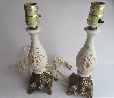 "Antique PAIR Lefton Porcelain Cherub 12"" Lamps Ornate Brass CLAWFOOT Base  VTG"