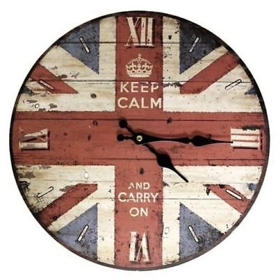 Retro Keep Calm and Carry On Wall Clock British Union Jack Flag Vintage Chic