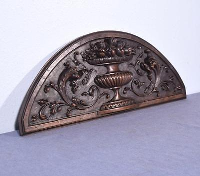 "*26"" French Antique Pediment/Crest/Panel in Walnut Wood with Serpents/Griffins"