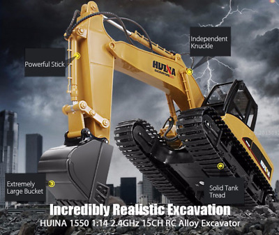 HUINA 1:14 2.4GHz 15CH RC Alloy Excavator RTR Programming Auto Demonstration NEW