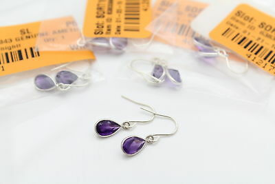 Lot of Five Pairs of Pear-Cut Amethyst Dangle Earrings in Sterling Silver