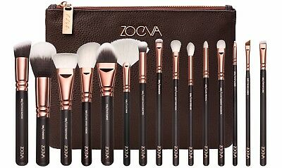 New Zoeva Makeup Brush Set 15 Pcs  Rose Gold + Bag