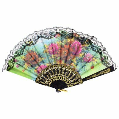 Lady flower Print Chinese Japanese Foldable Hand Fan Black A1L2