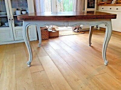 Antique French Dining Table Versailles  oak with painted base