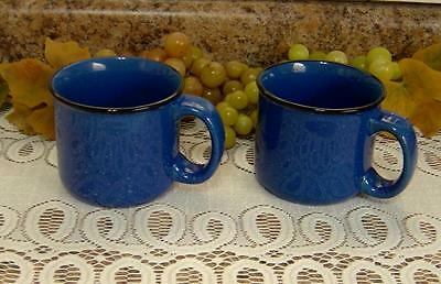 2 Marlboro Unlimited cobalt blue speckled stoneware Mugs cups Great for Camping