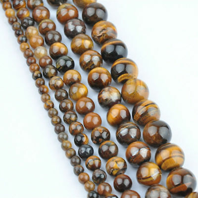 4/6/8/10mm natural yellow tiger eye gemstone beads loose beads 15 inches