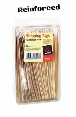"""100 Pack Strung Heavyweight Manila Shipping Tags String Self Packing 4.75""""x 2.3"""""""