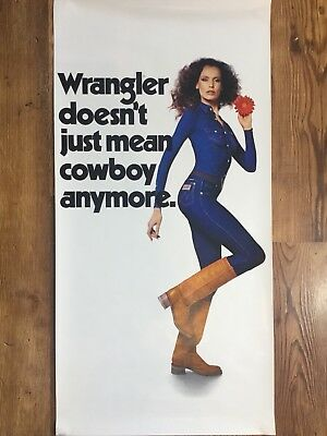 Vintage Wrangler Jeans Advertising Poster Doesnt Mean Just Cowboy Anymore