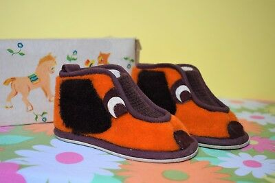 Adorable Vintage Retro 70s Childrens Dog Shoes Booties