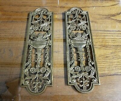 2 Matching Antique French Brass Decorative Open Work Push Fingertip Door Plates