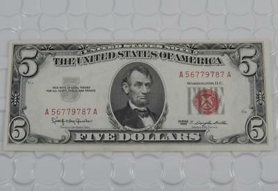 UNC Series 1963 $5 Five Dollar US United States Note Red Seal Uncirculated P0099