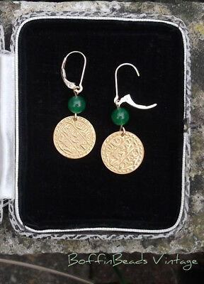 Green gemstone Egyptian Revival EARRINGS goldwashed coin disc ex-Haskell 14K GF