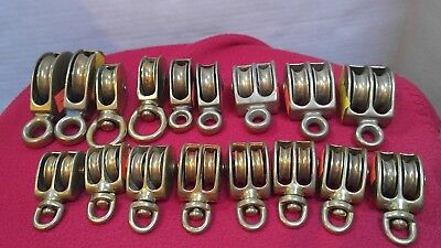 Vintage, New old stock (17) Bronze Brass single and double block pulleys