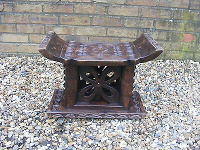 Rare Unusual Antique Vintage Old African Ashanti Style Carved Wooden Stool Table