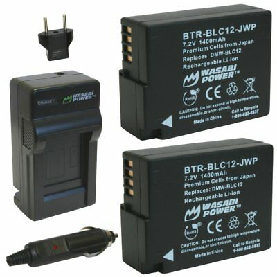 Wasabi Power Battery (2-Pack) and Charger for Panasonic DMW-BLC12