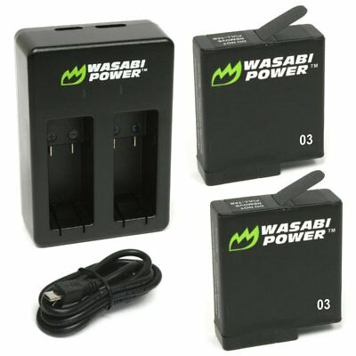 Wasabi Power Battery (2-Pack) & Dual Charger for GoPro HERO5, HERO6