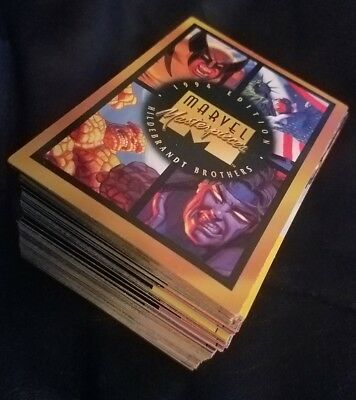 complete base set 1994 marvel masterpieces trading cards