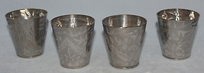 "Set of 4 Vintage Silver Plate Indian Hand Engraved Cups Tumblers 2.5"" Tall"