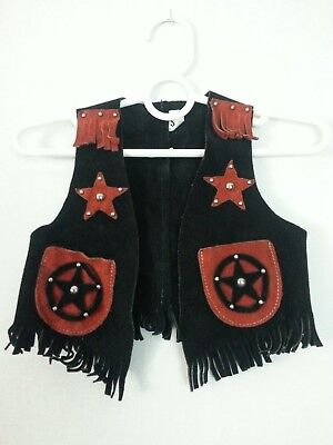 VTG 70s Child Boy Girl Vest Top Suede Leather Black Red Star Western Hippie S