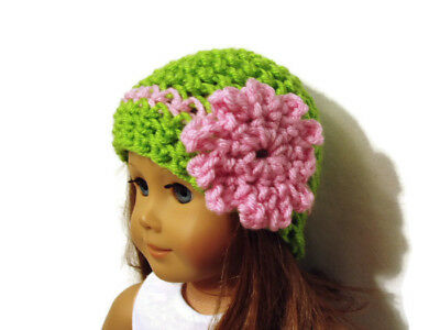 """Crochet Hat Fits American Girl Dolls 18"""" Doll Clothes Green w/ Pink Flower"""