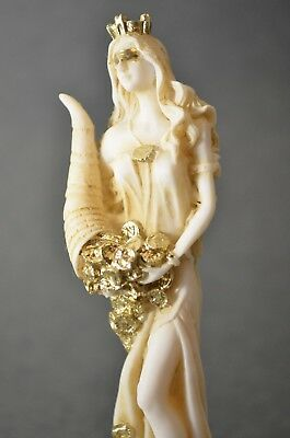 Goddess Of Wealth Tyche Lady Luck Fortuna Statue Alabaster Sculpture Golden 5""
