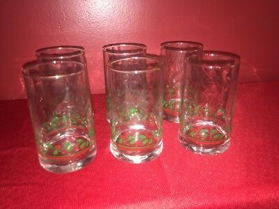 ARBY'S 1984 CHRISTMAS COLLECTION  HOLLY & BERRIES Glass Gold Trimmed Tumblers