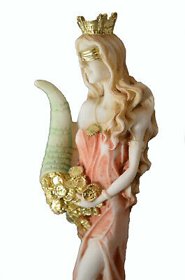 Goddess Of Wealth Tyche Lady Luck Fortuna Handpainted Statue Alabaster 8.6""