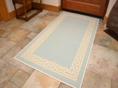 Small Large Duck Egg Blue Door Hall Runners Kitchen Floor Rug Anti-Slip Back Mat