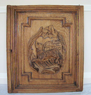 Antique French Carved Wooden Door Panel Dog Hunting Motifs Chasse Wood Door
