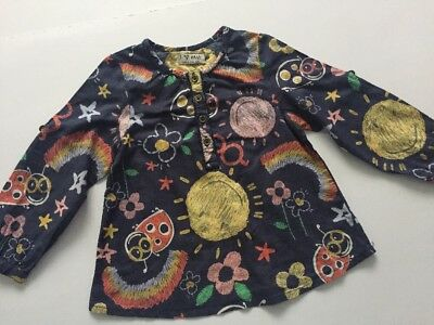 NEXT Baby Girl Multi Printed Navy Short/ Long Sleeve Blouse Age 12-18 Months