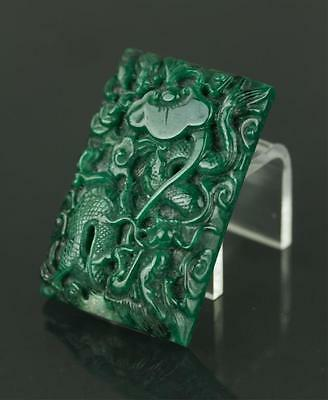 Chinese Fine Carved Green Jade Dragon Pendant