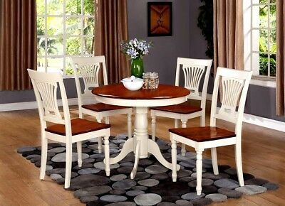 Antique 5 Piece Pedestal Round Dining Table with Plainville Wooden Seat Chairs