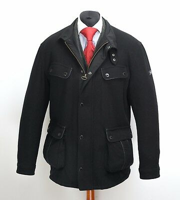 Mens Barbour International Allonby Wool Jacket Winter Quilted Black Size XL